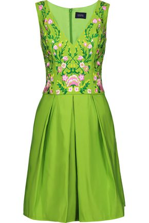 MARCHESA NOTTE Pleated embroidered faille dress