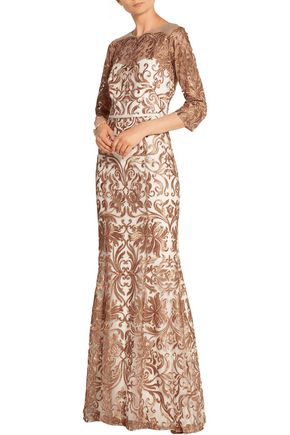 MARCHESA NOTTE Metallic embroidered tulle gown