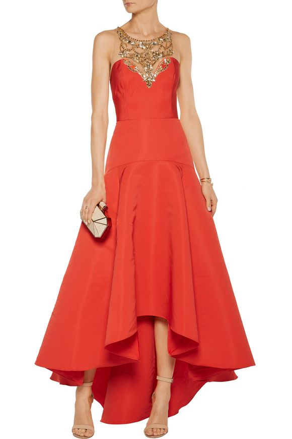 Pleated embellished tulle and faille gown | MARCHESA NOTTE | Sale up to 70%  off | THE OUTNET