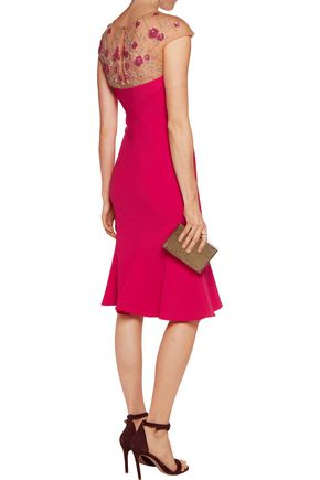 MARCHESA NOTTE Embellished crepe dress