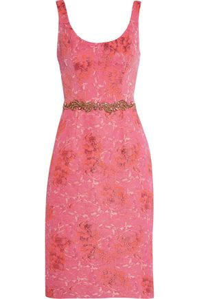 MARCHESA NOTTE Jacquard embellished dress