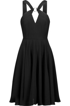 HALSTON HERITAGE Embellished pleated crepe dress