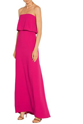 HALSTON HERITAGE Strapless stretch-crepe gown