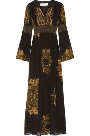 RACHEL ZOE Blair embellished printed crinkled silk-chiffon gown