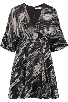 HALSTON HERITAGE Wrap-effect printed silk crepe de chine mini dress