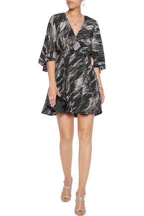 HALSTON HERITAGE Wrap-effect printed silk crepe de chine mini dress