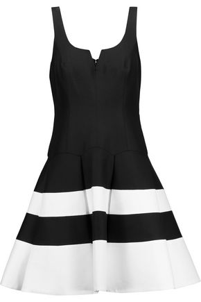 HALSTON HERITAGE Pleated striped cotton and silk-blend mini dress