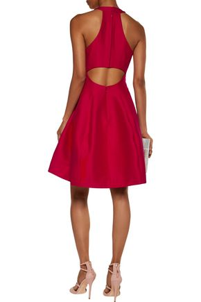 HALSTON HERITAGE Cutout pleated cotton and silk-blend mini dress