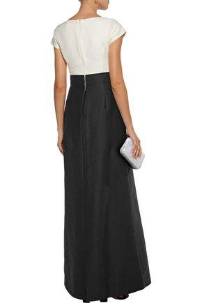 HALSTON HERITAGE Pleated cotton and silk-blend faille gown