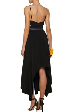 HALSTON HERITAGE Cutout asymmetric washed-crepe dress