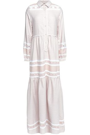 DODO BAR OR Eyelet-trimmed paneled cotton-jacquard maxi dress