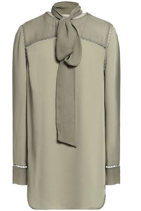 ZIMMERMANN Pussy-bow open knit-trimmed voile blouse