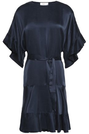 ZIMMERMANN Ruffle-trimmed belted silk-satin dress