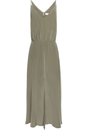 ZIMMERMANN Gathered silk-satin midi dress