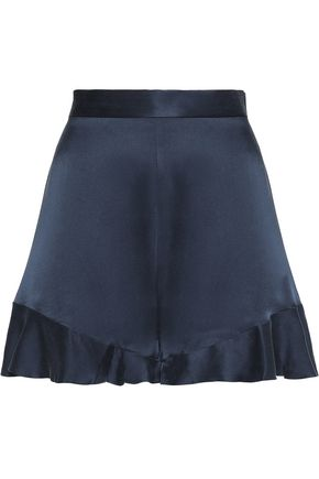 ZIMMERMANN Floating ruffled washed silk-satin shorts