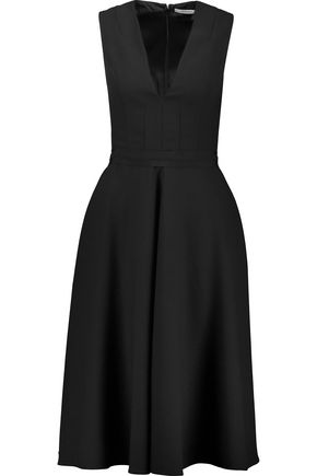 CARVEN Grosgrain-trimmed pleated crepe dress