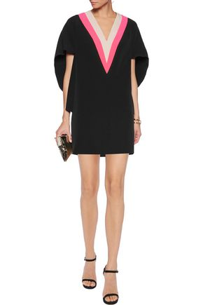 MILLY Color-block crepe mini dress