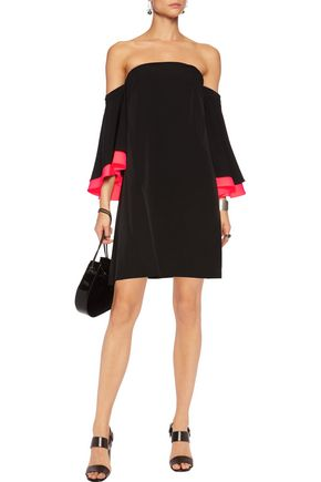 MILLY Mila off-the-shoulder fluted neon cady mini dress