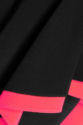 MILLY Asymmetric layered stretch-crepe midi dress