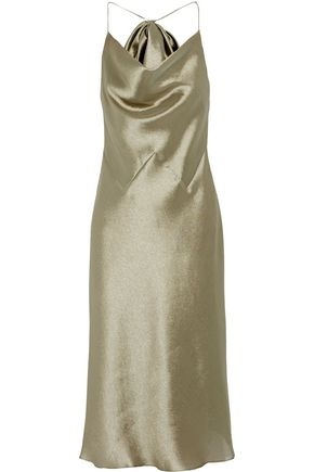 CUSHNIE ET OCHS Bow-embellished charmeuse halterneck midi dress