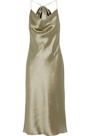 CUSHNIE ET OCHS Bow-embellished charmeuse halterneck midi dress