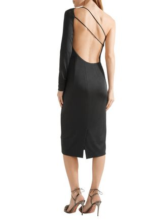 CUSHNIE ET OCHS One-shoulder open-back stretch-satin midi dress