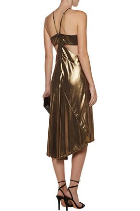HALSTON HERITAGE Cutout lamé dress