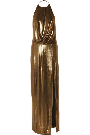 HALSTON HERITAGE Draped lamé halterneck gown