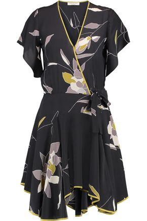HALSTON HERITAGE Wrap-effect printed silk dress