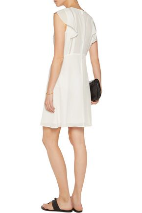 THEORY Deorsa ruffle-trimmed lace-paneled silk-crepe mini dress