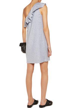 THEORY Alexanda ruffled one-shoulder linen-blend dress