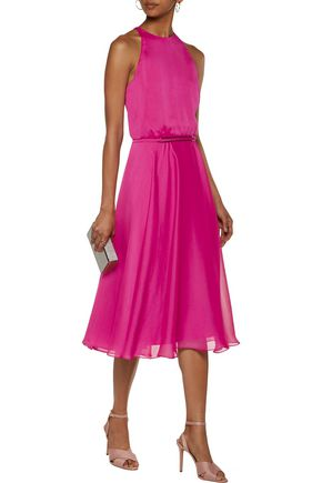 HALSTON HERITAGE Cutout embellished georgette midi dress