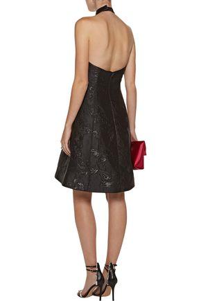 HALSTON HERITAGE Metallic jacquard halterneck dress