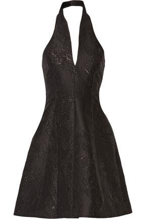 HALSTON HERITAGE Metallic jacquard halterneck mini dress