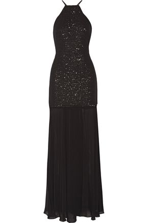 HALSTON HERITAGE Pleated sequined georgette gown