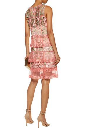 MARCHESA NOTTE Tiered guipure lace and tulle dress