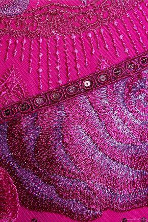 MARCHESA NOTTE Embellished embroidered tulle dress