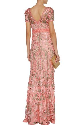 MARCHESA NOTTE Open knit-trimmed lace gown