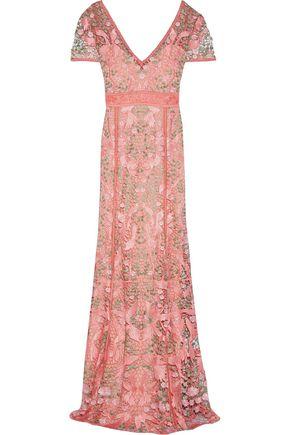 MARCHESA NOTTE Open knit-trimmed lace gown