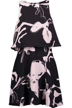 HALSTON HERITAGE Layered printed twill mini dress