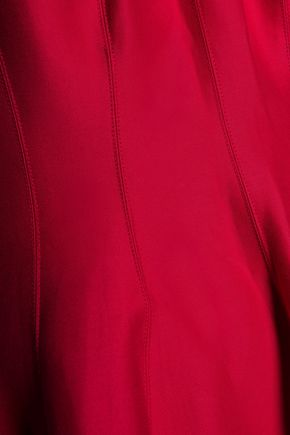 HALSTON HERITAGE Cutout pleated cotton and silk-blend mini dress
