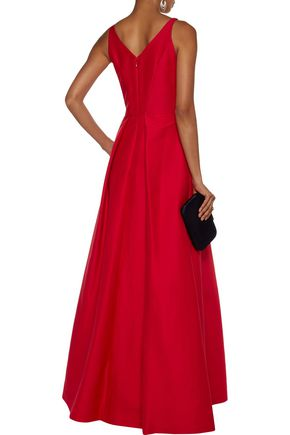 HALSTON HERITAGE Pleated cotton and silk-blend gown