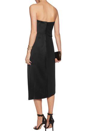 HALSTON HERITAGE Strapless satin midi dress
