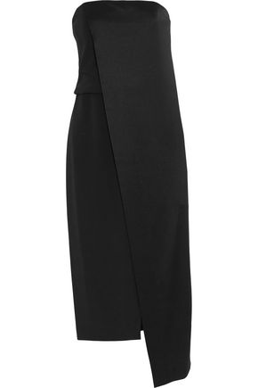 HALSTON HERITAGE Strapless satin midi dress