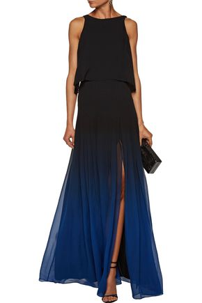 HALSTON HERITAGE Layered degradé silk-chiffon gown