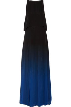 HALSTON HERITAGE Layered degradé silk-chiffon gown