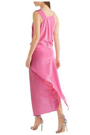 MICHELLE MASON Asymmetric draped silk-satin midi dress