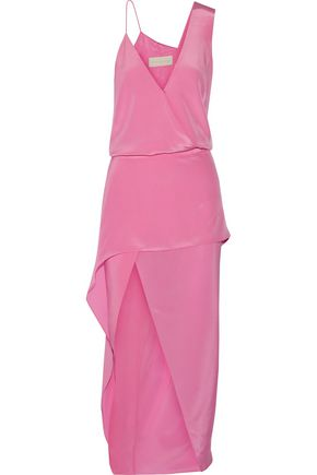 MICHELLE MASON Asymmetric draped silk-satin midi dress