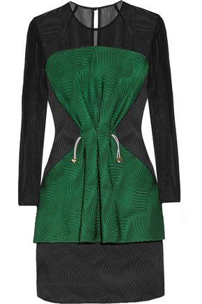 MARY KATRANTZOU Eilate two-tone chiffon-paneled textured silk-blend dress