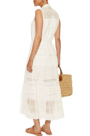 SEA Baja lace-paneled cotton-voile midi dress